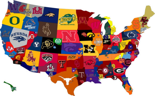 United States map with college logos for each state